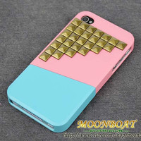 Apple iPhone 4 , iPhone 4s,  iPhone 4 Hard Case, iPhone Case With Combination Cover Up And Down And Antique Brass Pyramid Stud MB494
