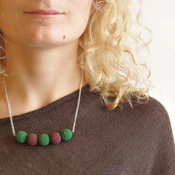 Autumn Beadwork Necklace in Brown and Green, Handmade Beaded Bead Necklace with Pine Green and Chocolate Brown, Fashion Necklace