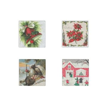Vintage Christmas Set of 4 Marble Magnets