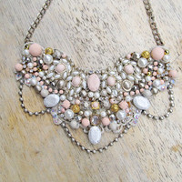 Bib necklace - statement, wedding, bridal, formal, beige, gold, pearl, blush, bronze, champagne, swarovski, rhinestone, hand painted beads