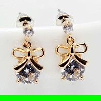 Bow On Diamond Rhinestone Earrings