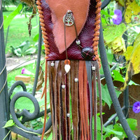 Hand Stitched Leather Pouch / Purse or Cross Body or Belt Bag, Tree of Life, Fringe, Boho, Hippie, HoBo Style, Brown
