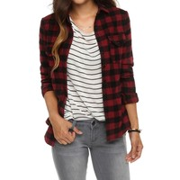 Promo-burgundy Plaid Trendy Top