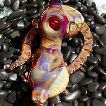 Sherlock with 3 Honeycomb windows and one Pinwheel purple glass pipe American Made