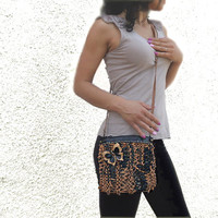 Brown black leather crossbody purse, leopard leather bag, butterfly purse, black cross body bag