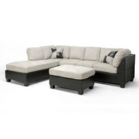 Baxton Studio Mancini Modern Sectional Sofa and Ottoman Set