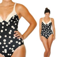 Vintage Swimsuit -- Retro Swim -- Vintage Black and White Polka Dot Swimsuit -- Vintage Bathing Suit -- Spring Fashion -- Summer Fashion