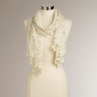 Ivory Crochet  Lace Scarf - World Market