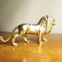 Vintage Brass Lion Figurine, Gold Lion Paperweight, Lion Statue, African Animal Figure