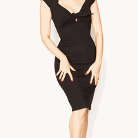 Broad Minded Clothing - Rockabilly Pinup Stretch Knit Twist Tie Front Little Black Wiggle Dress