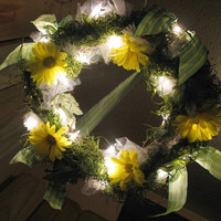 Hanging Woodland Fairy Grapevine Wreath Light