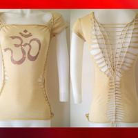 "Juniors / Womens Beige Cream Cut Top "" Namaste "" Zen Inspired Size Small, Medium, Large, XL, 2xl, 3xl Yoga Top"