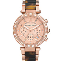 Parker Mid-Size Rose Golden Stainless Steel and Tortoise Acetate Parker Chronograph Glitz Watch - Michael Kors - Rose gold/Tort