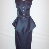 1980s Strapless Peplum Evening Dress Navy Blue