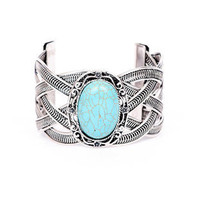 Center of Attention Cuff in Turquoise Silver :: tobi