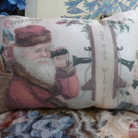 Christmas In July Print Santa and Child  small Cushion