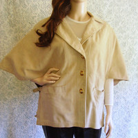 Vintage 60s 70s Cape / Hippie Cape Jacket / Boho Suede Jacket Leather Jacket / Suede Cape / 60s Jacket