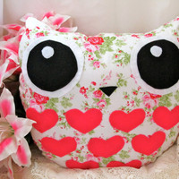 Shabby Chic Owl Pillow Delilah the Sweethoot/ Ready by Sweethoots