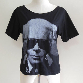 Karl Lagerfeld Fashion Designer -- Karl Lagerfeld Shirt Women T-Shirt Crop Top Tee Shirt Tunic Shirt Black T-Shirt Size