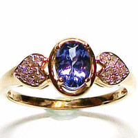 Tanzanite and Diamond accent ring set in yellow gold sweetheart ring s 8 gifts for her   &quot;Electric Blue&quot;