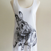 Rabbit Bunny Cute Animal -- Rabbit Shirt Bunny Shirt Animal Tank Top Women Tunic Top White Sleeveless Singlet Animal T-Shirt Size S , M