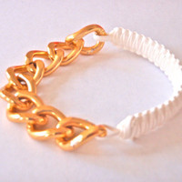 White Cobra Woven Bracelet - Gold Chain