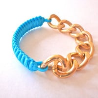 Turquoise Braided Bracelet - Gold Chain
