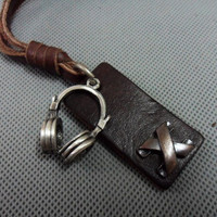 Brown real Leather and alloy earpiece pendant adiustable necklace B3