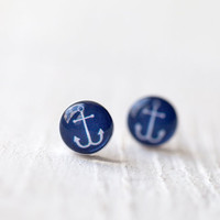 Anchor earrings - Nautical jewelry - christmasinjuly CIJ (E101)