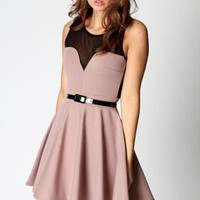 Lily Mesh Detail Sweet Heart Neck Skater Dress