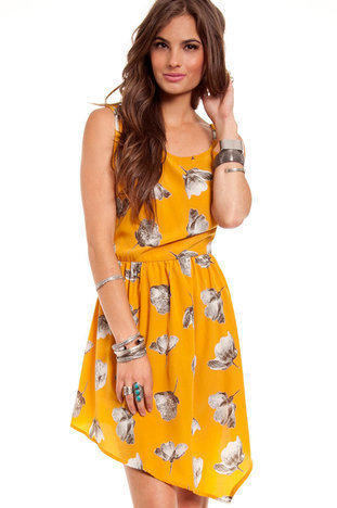 Freesia Tank Dress in Mustard :: tobi