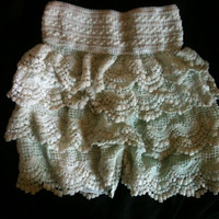 Cute Hand Dyed Light Pastel teal and creme Lacey Stretch Shorts