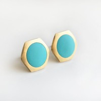 Geometric Hexagon with light blue circle stud earring