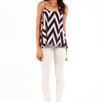 Zig Zag Top in Blue and Pink :: tobi