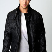 Leather Look Diamond Quilted Jacket