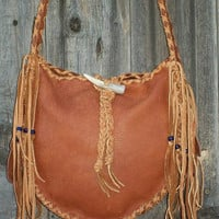 Fringed leather tote  Fringed leather handbag bag   Buckskin carry all