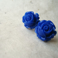 Blue Rose Earrings. Cobalt Blue Flower Earrings, Rose Post Earrings. Art Deco Rosebuds. Vintage Inspired. Summer Fashion. FSE1.