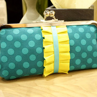Kisslock Frame Clutch in Teal, Turqiouse, and Yellow Polka Dot with Ruffle