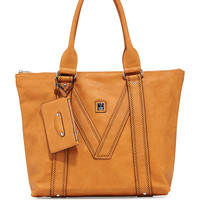 V Perforated-Trim Tote Bag, Camel - V Couture by Kooba