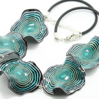 Polymer Clay Handmade Necklace -- Turquoise, Blue, White -- Free shipping