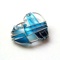 Turquoise Heart pendant - Wire Wrapped and Resin Pendant