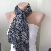 Leopard ..Chiffon... Scarf...Grey and Black...Ruffle...