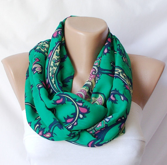 Infinity Loop Scarf ..Chiffon and coton... Green Design.
