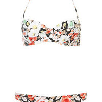Dark Floral Bikini Top and Pants - Bikini Sets - Swimwear  - Apparel - Topshop USA