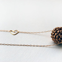 Beaded bead pendant in antique bronze gold filled necklace