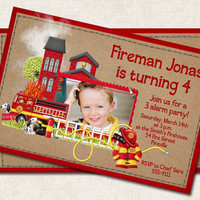 Fireman Birthday Party Invitation, personalized red black (Digital File) you-print