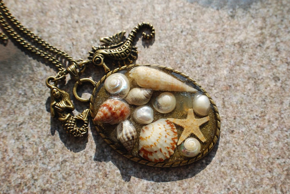 Mermaid Necklace Nautical Jewelry 08 Real Mini Seashells Starfish Seahorse Pearl Resin Vintage