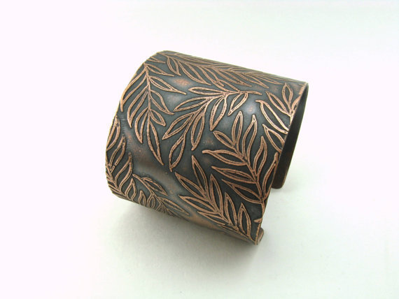 Fern Frond Foliage Copper Etched Cuff Nature Jewelry Leafy Wide Cuff
