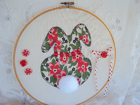 Bunny Rabbit Embroidery Hoop Art for Baby: introducing Feedsack Bashful Becky