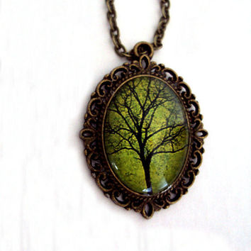 Original Tree of Life Pendant with Link Chain - Moss